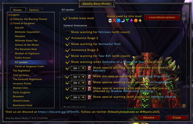 World of Warcraft Addons DBM options