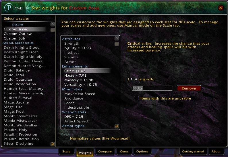 World of Warcraft Addons Pawn Options