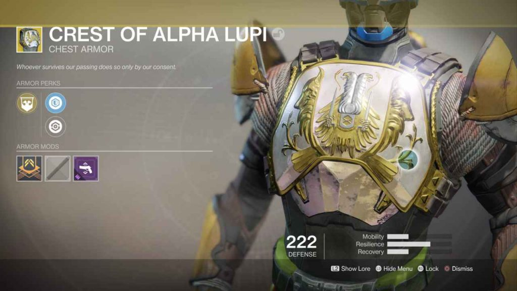 destiny 2 exotic crest of alpha lupi