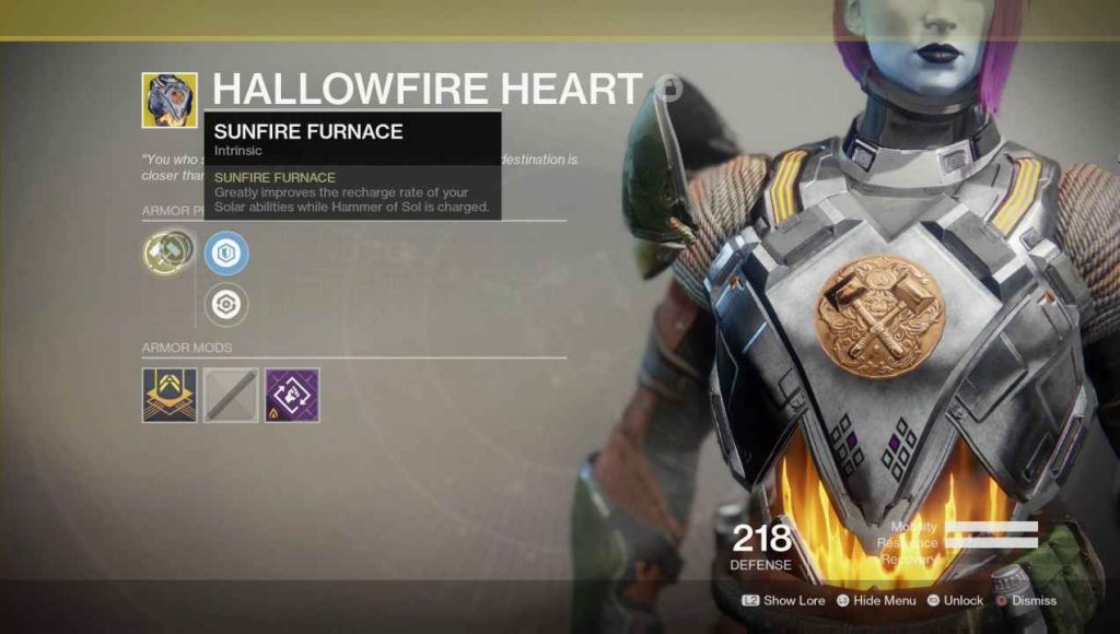 destiny 2 exotic hallowfire heart