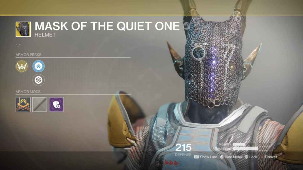 destiny 2 exotic mask of the quiet one