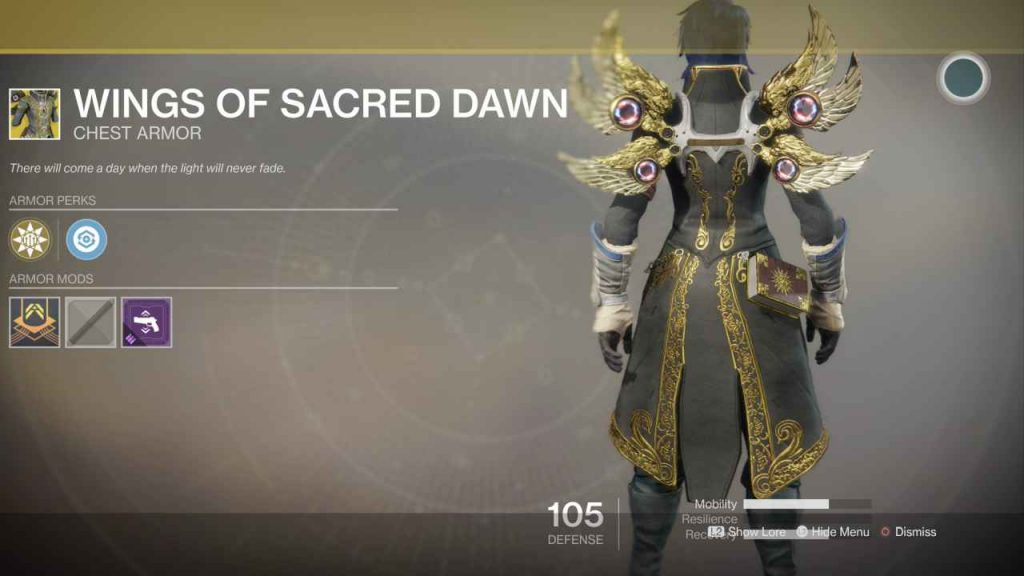 destiny 2 exotic wings of sacred dawn