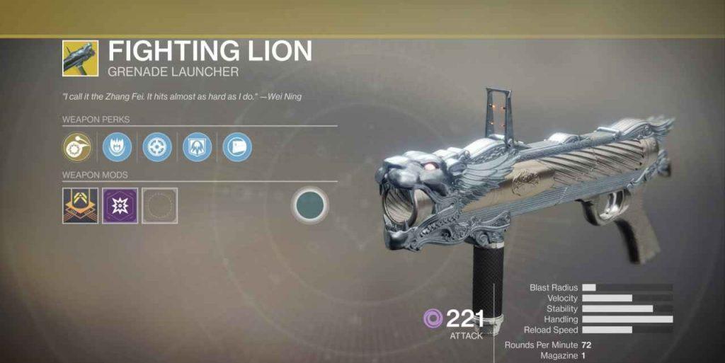destiny 2 loewengebruell fighting lion waffe