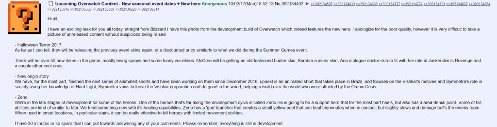 Overwatch 4chan leak halloween