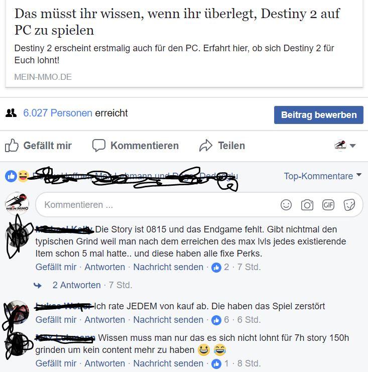 Reaktion Destiny 2
