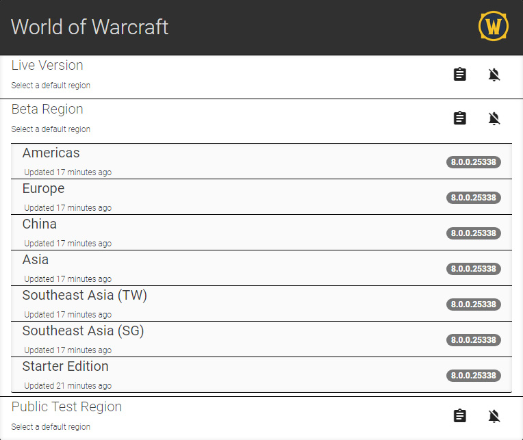 WoW Beta 800 Serverliste