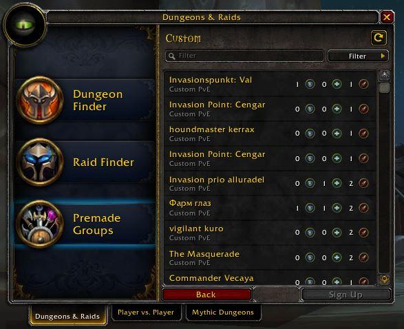 World of Warcraft Custom Groups FInder