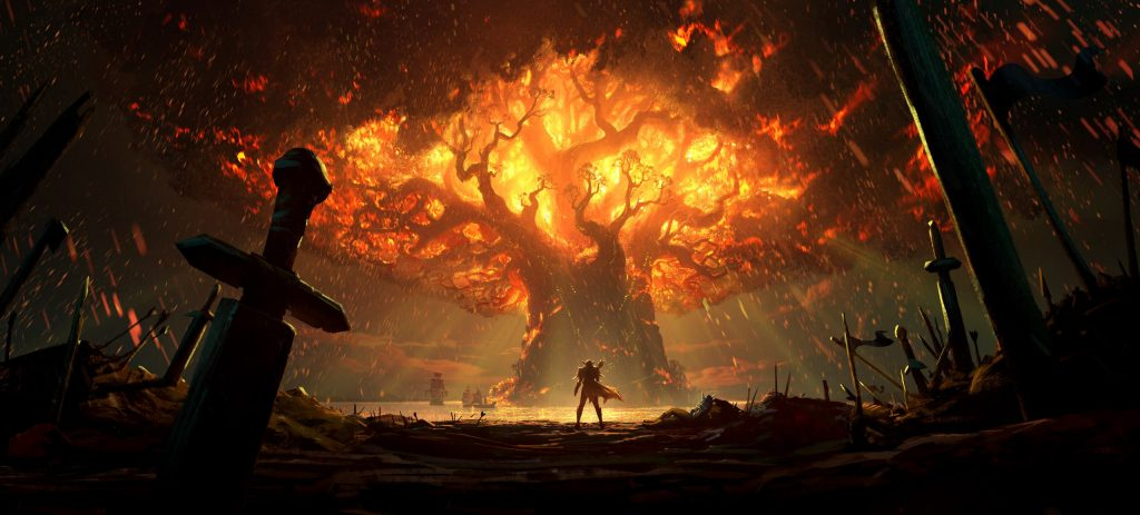 WoW Battle for Azeroth Burning Teldrassil Artwork