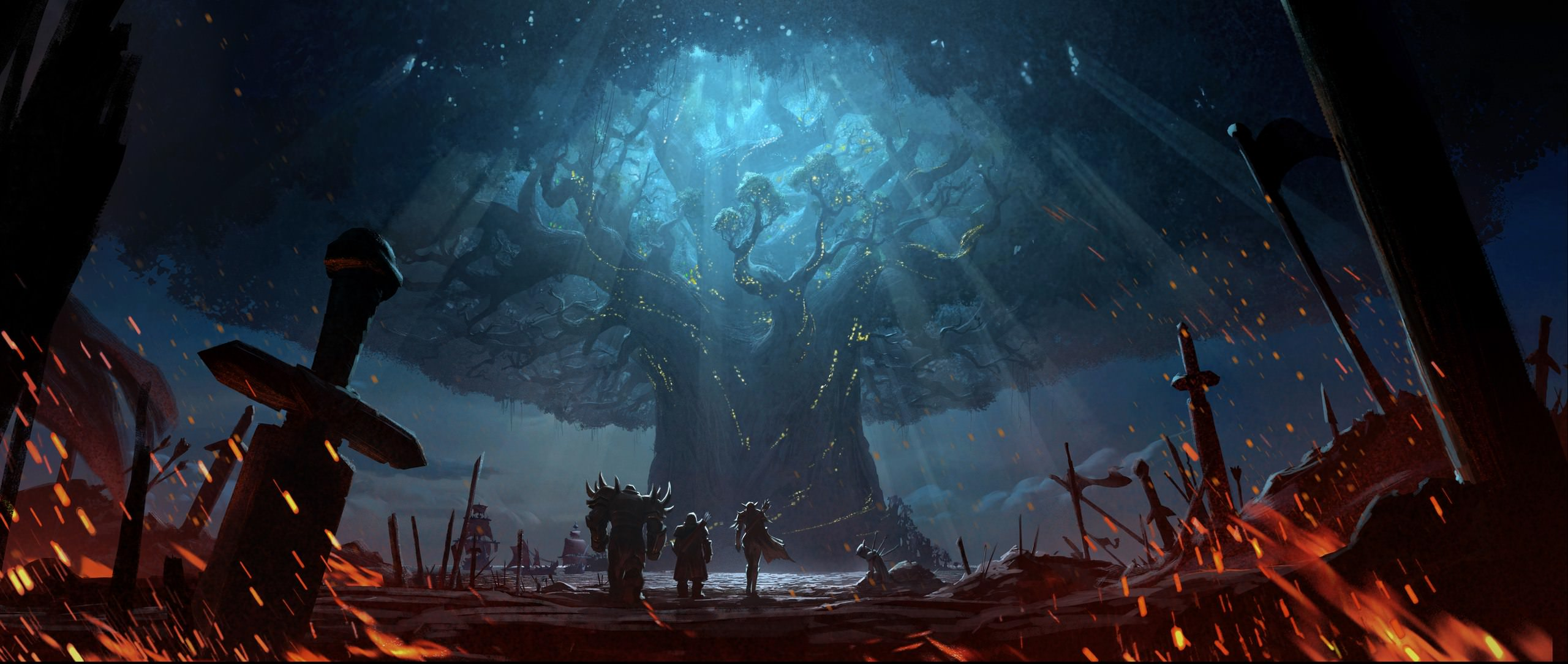 WoW Battle for Azeroth Burning Teldrassil Before Artwork