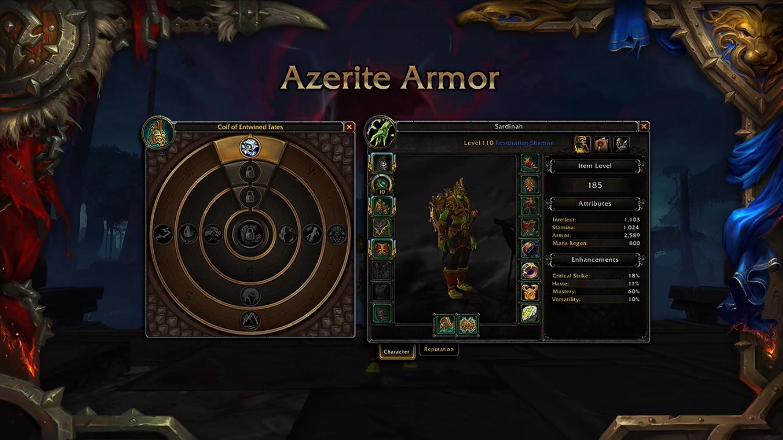 WoW Heart of Azeroth Azerite Armore