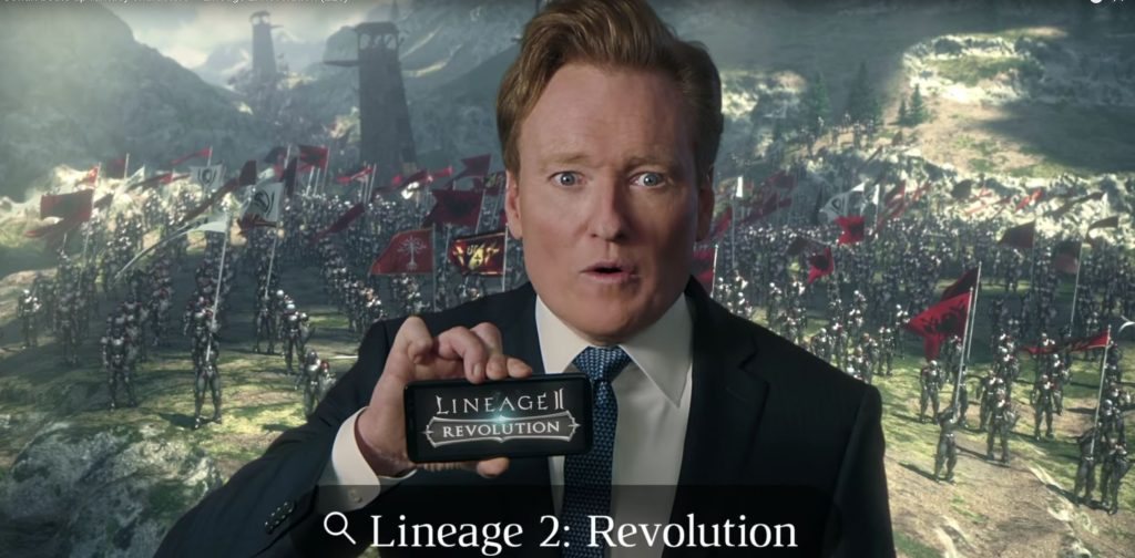 lineage-2-revolution-Conan-O-Brien-Werbung