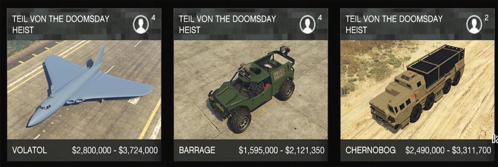 GTA 5 Online Doomsday Preise Autos2