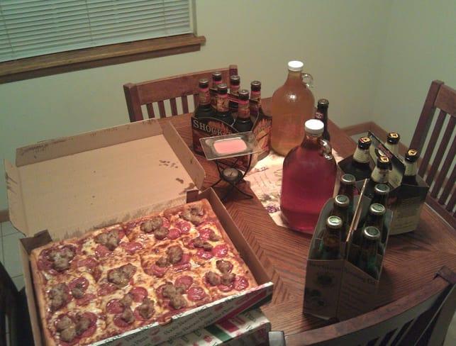 LAN Party Getränke und Pizza