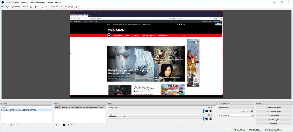 Open Broadcaster Software OBS Quelle und Szene einstellen