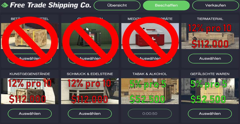 GTA 5 Online Hangar Kategorien Übersicht 1