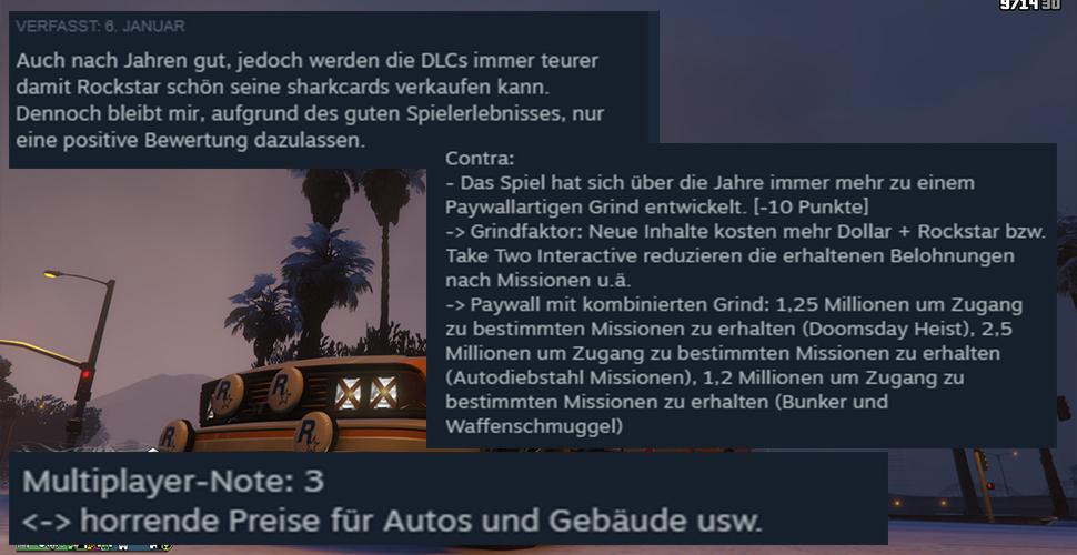 GTA 5 Online Steam Kritik