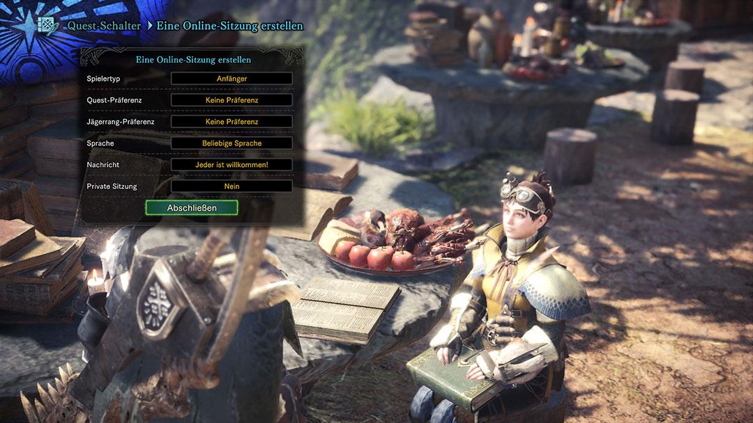 Monster Hunter World Online-Sitzung