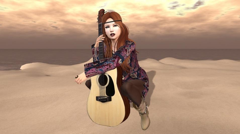 Second Life Sängerin mit Gitarre