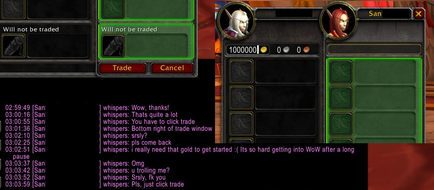 WoW Troll Gold Trade