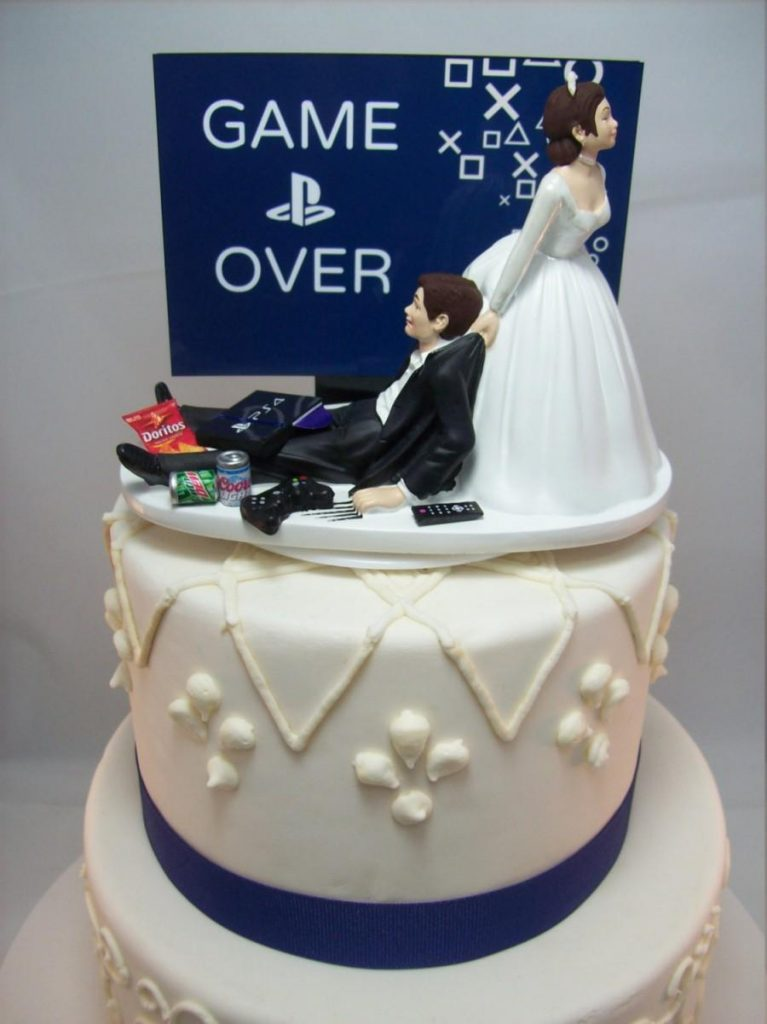game-over-playstation-funny-wedding-cake-topper-video-game-groom39s-can-personalize-your-names-gamer-gaming-junkie-brown-hair-awesome-sale