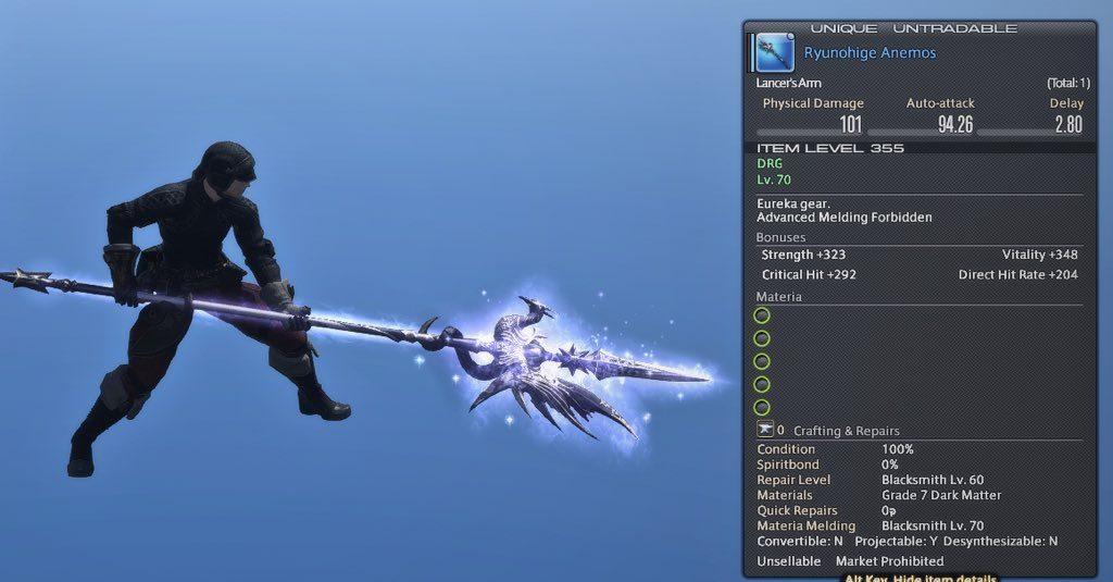 final fantasy xiv eureka relikt waffe dragoon