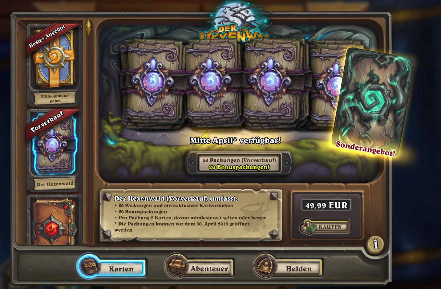 Hearthstone Preorder Witchwood