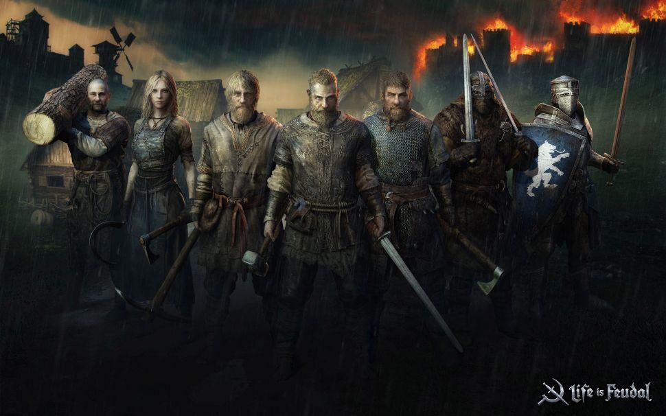 Life is Feudal MMO Key Art Krieger und Bauern im dunklen Mittelalter