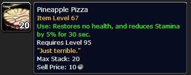 WoW Pineapple Pizza Tooltip