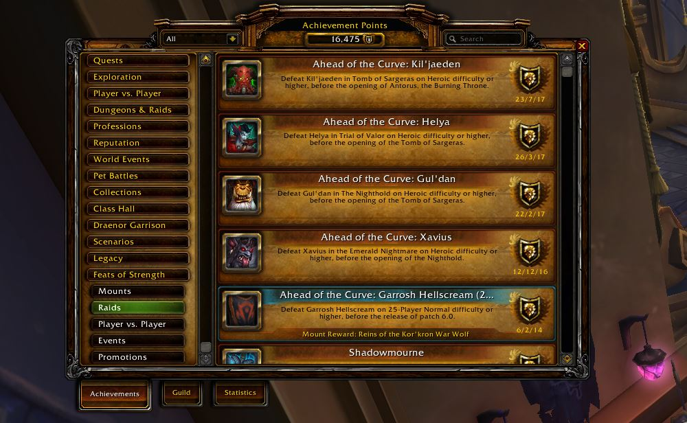 World of Warcraft Achievements Erfolge Heldentaten Feats of Strenght