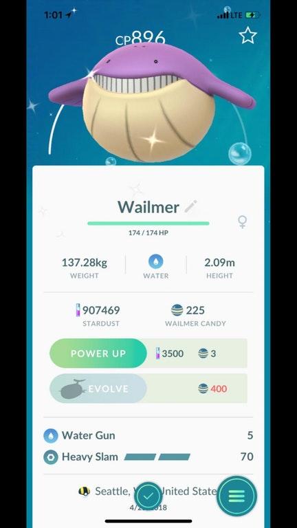 Pokémon GO Shiny Wailmer