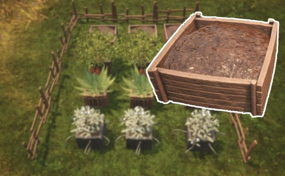 Conan Exiles Kräutergarten mit Komposthaufen Titel