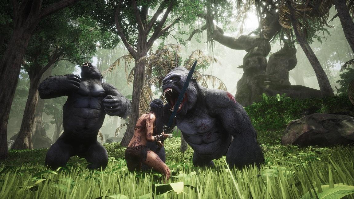Conan Exiles Screenshot Swamp Exile vs Gorillas