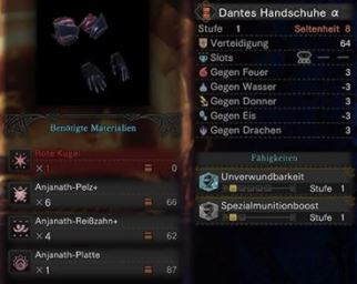 Dantes-Handschuh