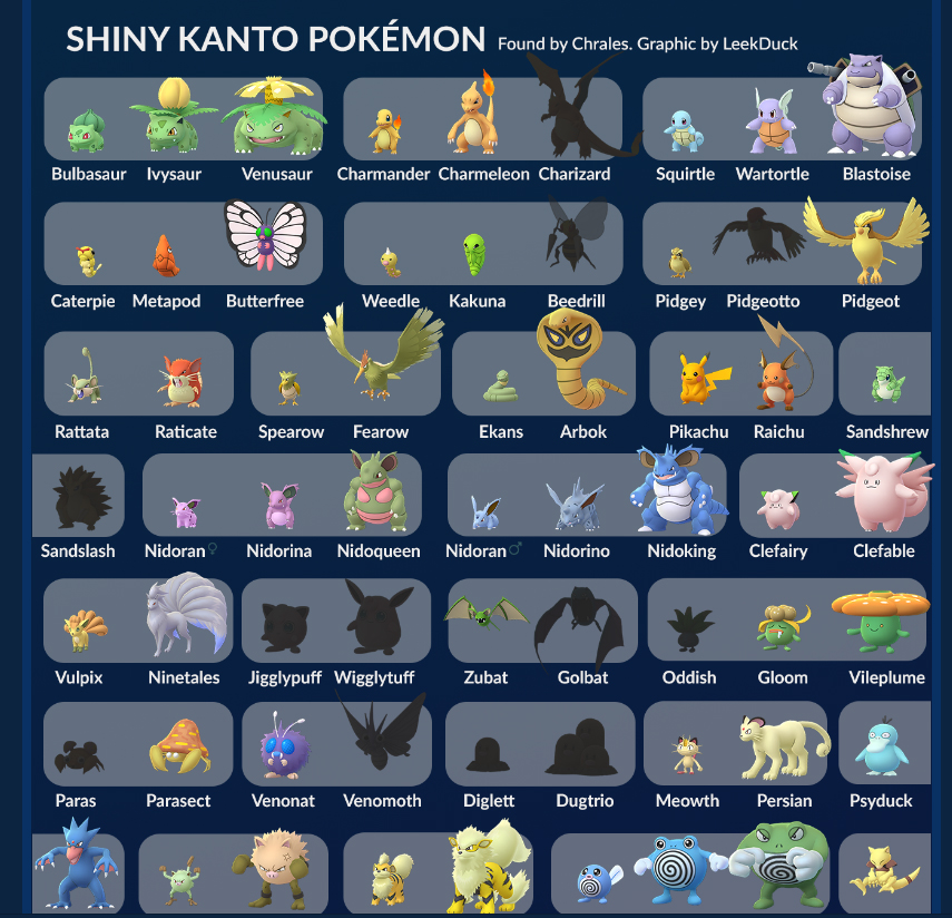 Leekduck Shiny Kanto