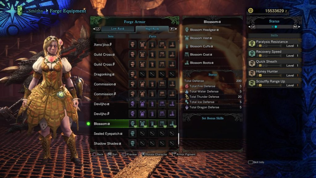 monster hunter world frühlingskleid statuswerte
