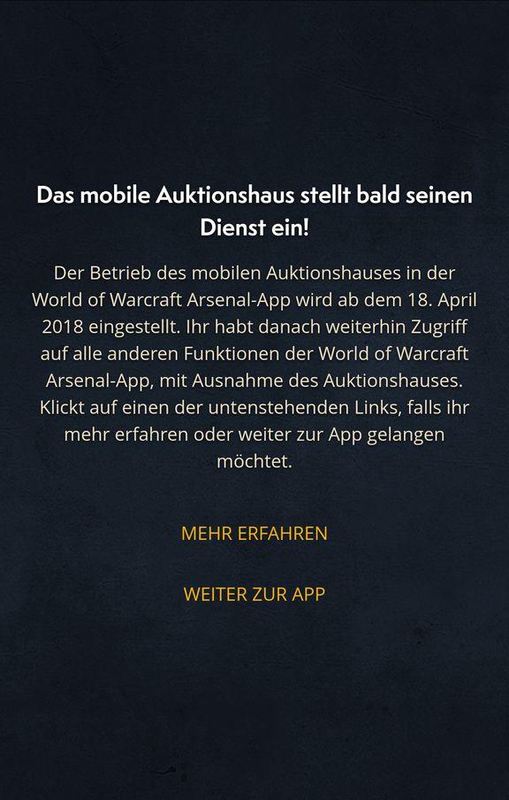 World of Warcraft Arsenal App AH close