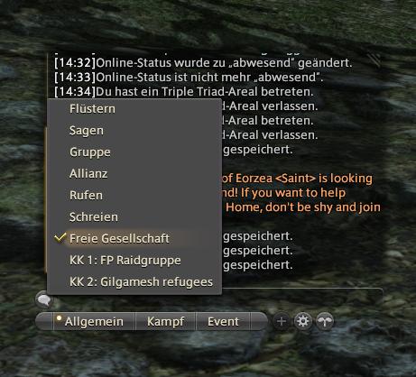 final fantasy xiv chatfenster