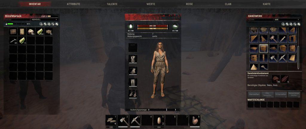 Conan Exiles Inventar erstes Crafting und Bau