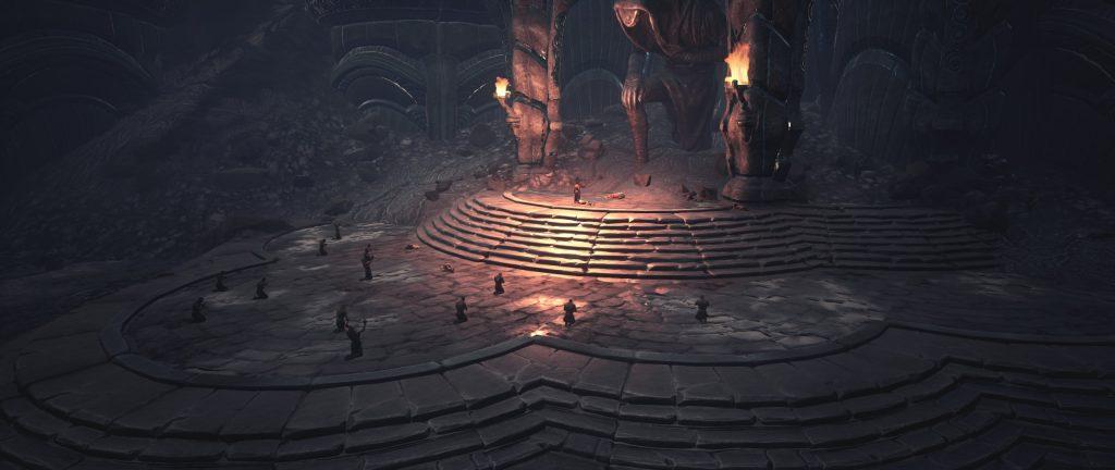 Conan Exiles Screenshot Anhänger des Skelos am Vulkan