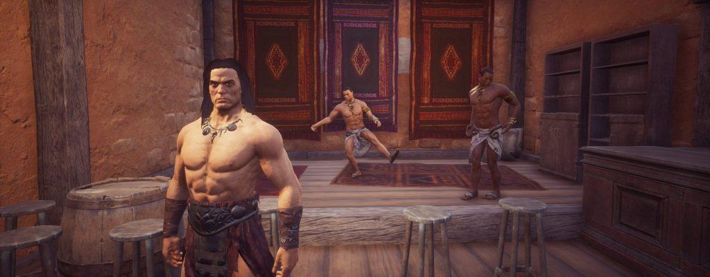 Conan Exiles Screenshot Conan mit Tänzern in Sepermeru