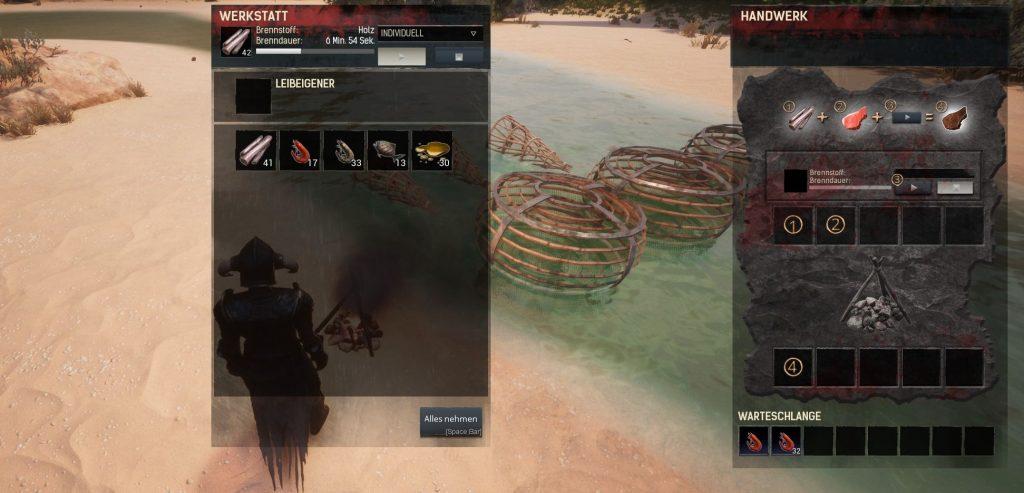 Conan Exiles Screenshot Fischfallen und Wundsekret