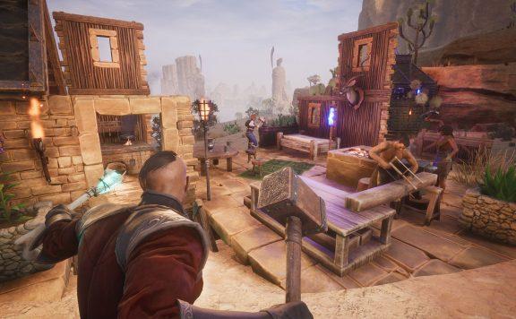 Conan Exiles Spieler bauen eine Basis