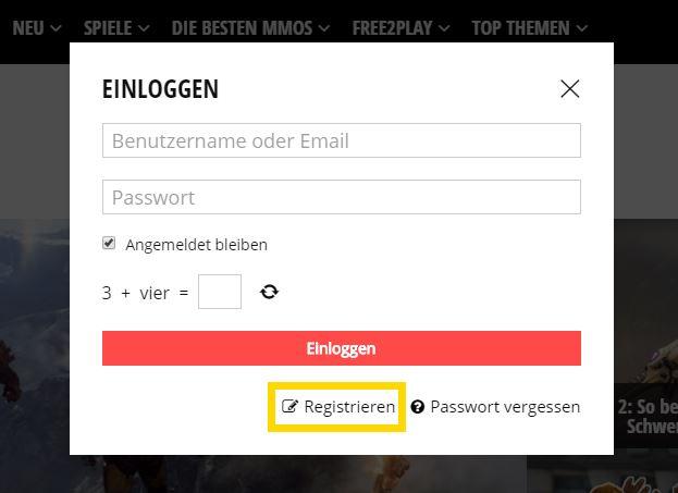 Mein MMO Registrierung zum Formular
