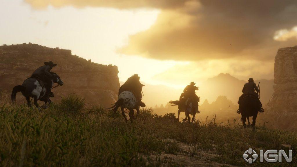 Red Dead Redemption 2 Reiten Sonnenuntergang Gang