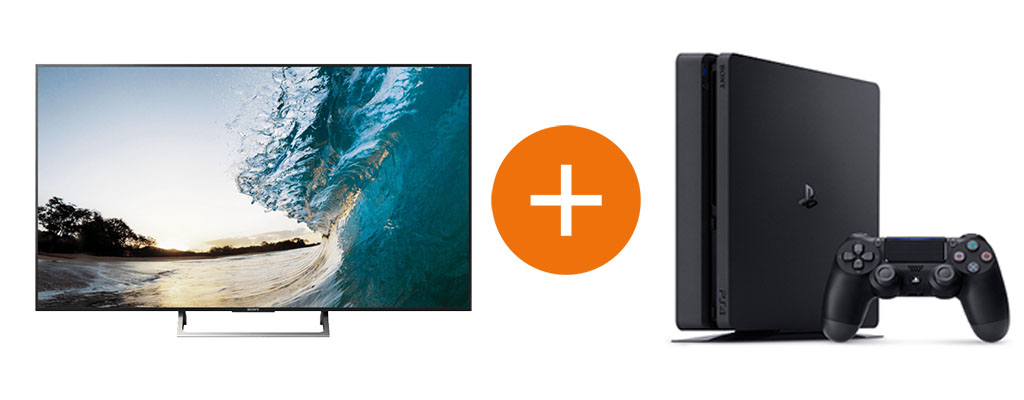 sony 65 zoll uhd tv im bundle mit ps4 slim 500 gb. Black Bedroom Furniture Sets. Home Design Ideas