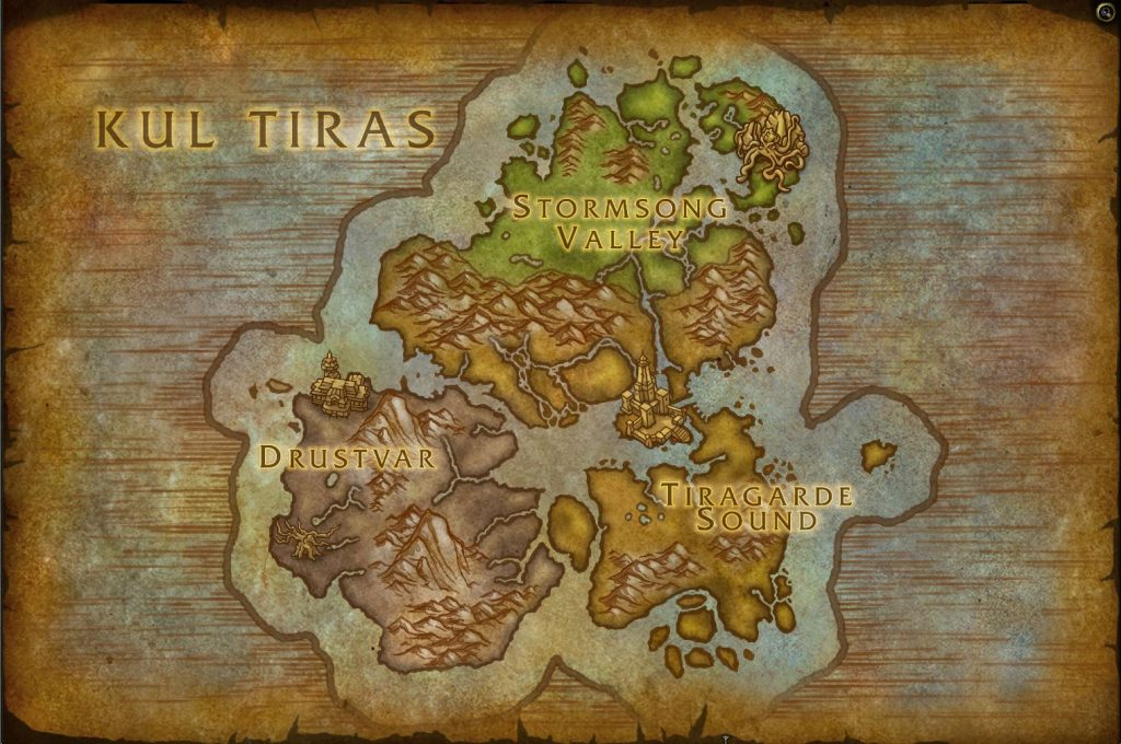 WoW Battle for Azeroth Kul Tiras Karte