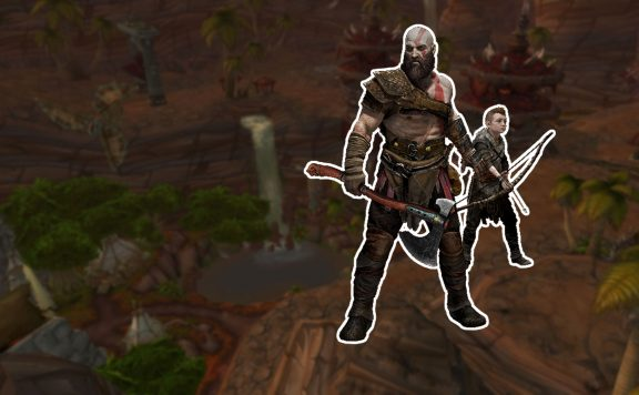 WoW Battle for Azeroth Orgrimmar Screenshot Titel mit Kratos und Atreus