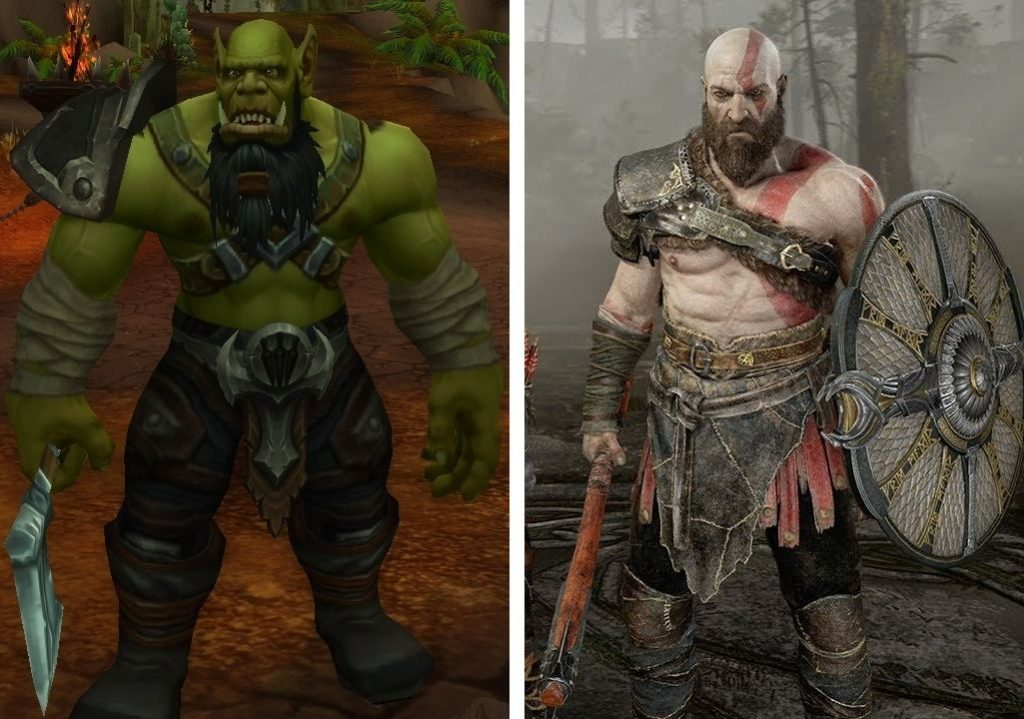 World of Warcraft God of War wandernder Krieger und Kratos in orgrimmar
