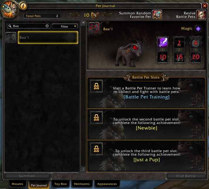 World of Warcraft battle for azeroth new pet baal ingame pet collection