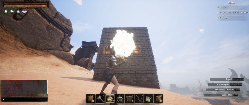 Conan Exiles Dämonenfeuer Kugel im Einsatz